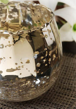 Mercury Glass Candle Holder  & Bowl 4x5