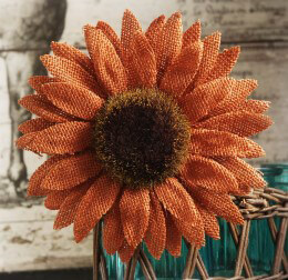 Orange Burlap Sunflower with Clip
