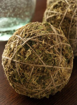 Moss Ball Ornament 4in Pack of 12