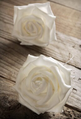 White Rose Heads 3in Pack of 2