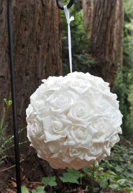 Hanging Rose Ball 10in White
