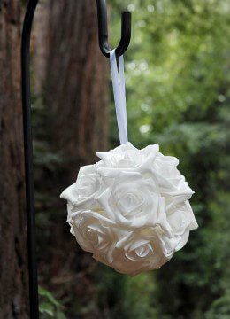 Hanging Rose Ball 6in White