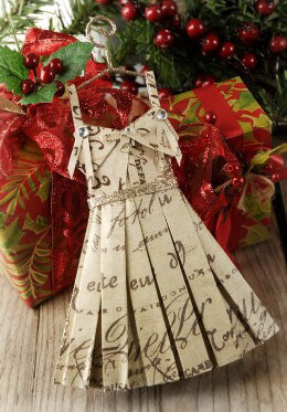 Paper Dress Ornament Pack of 6