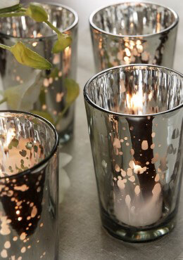 "Silver Mercury Glass Candle Holder 4.25"" (Pack of 4)"