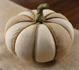 Burlap and Jute Pumpkin 9in
