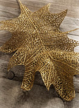 Gold Glitter Holly Leaf Spray Pack of 6