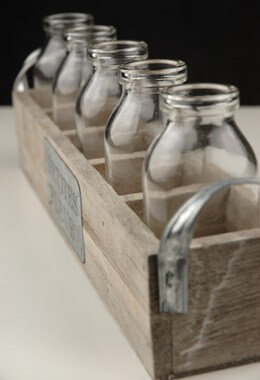 Petites Fleur Wood Crate & 5 Glass Milk Bottles