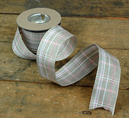 "Pink and White Plaid Linen Ribbon 1-3/8"" (16' roll)"