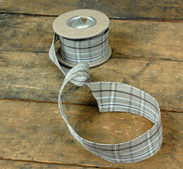 "Brown and White Plaid Linen Ribbon 1-3/8"" (16' roll)"