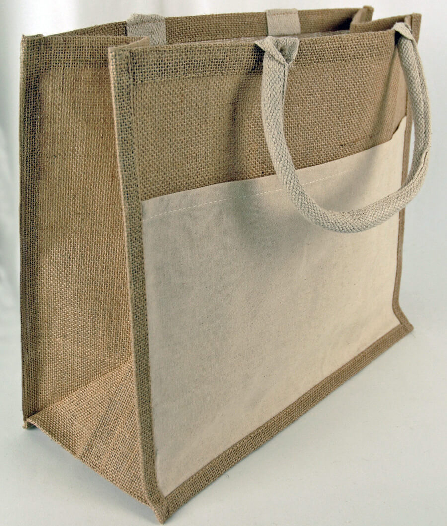 Burlap tote bag with sleeve pocket 15 x 13 Burlap bag decorating ideas