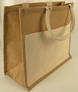 "Burlap Tote Bag with Sleeve Pocket 15"" x 13"""
