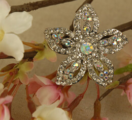 Bridal Brooch Plumeria Jeweled