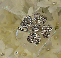 Bridal Brooch Four Leaf Clover