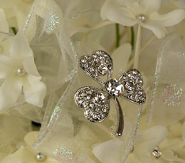 Bridal Brooch Three Leaf Clover