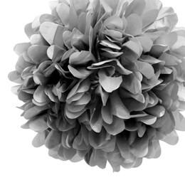 "4 Tissue Paper Pom Poms 8"" Silver"