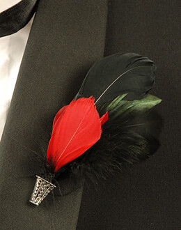 Feather Buttonhole For Groom Boutonniere Black & Red Feathers