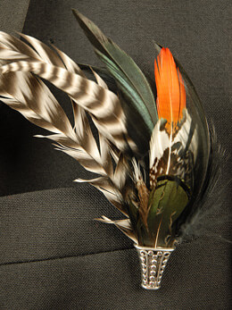 Feather Boutonni�eres Pheasant Stripe
