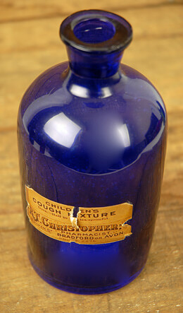 Medicine Bottle Blue 6.75in