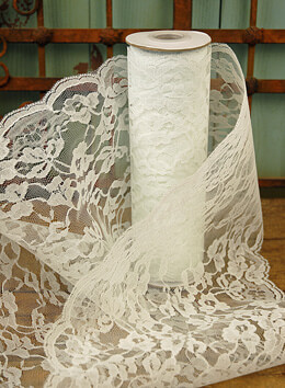 Wide White Chantilly Lace Runner 9in wide x 9 yds