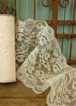 Wide Ivory Chantilly Lace Runner 9in wide x 9 yds