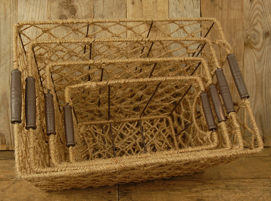Wood Basket Weaving Supplies : Rope weave baskets set of
