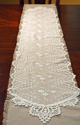 White Soft Embroidered Lace & Tulle Table Runners  12in x 74in