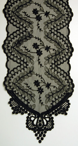 Embroidered Tulle Table Runner Black 12in x 74in