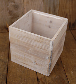 Cube Whitewashed Wood Planters 6in