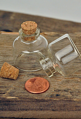 20 Tiny Glass Bottles 10ml  with Cork Tops
