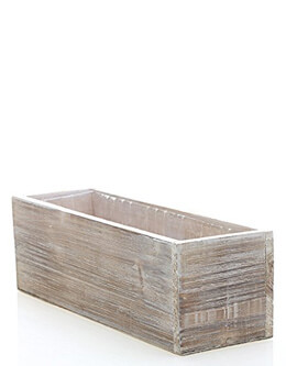 "Whitewashed Barnwood Planter with Hard Plastic Liner - 12"" Long x 4"" Wide x 4"" Tall"