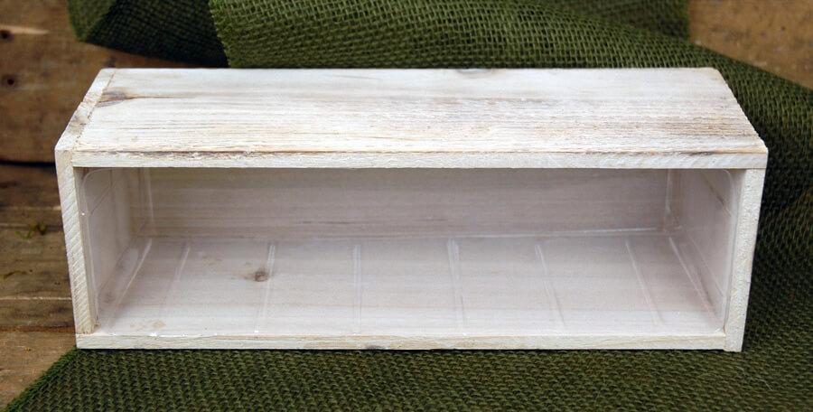 Whitewashed Barnwood Planter 12x4   Hard Plastic Liner