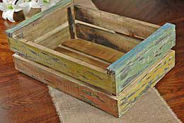 Wood Crate Multi Color 12 in x 19 in
