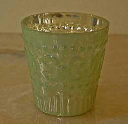Mercury Glass Votive Holder - Light Green 3.8in