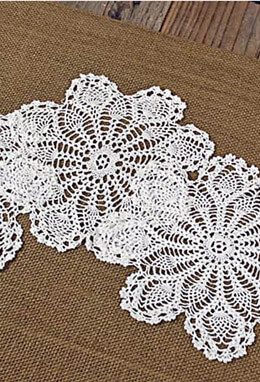 "12- 5"" White Crochet Lace Doilies"