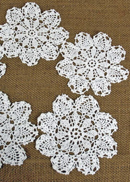 12- White Pineapple Lace Crochet Doilies 4""