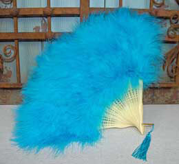 Feather Fan Teal Marabou 18in