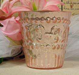 Mercury Glass Votive Holder - Pink 3.8in