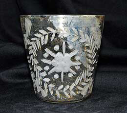 Etched Glass Votive Cup 4in