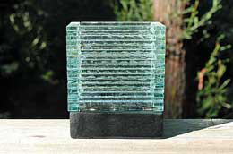 Stacked Glass Rectangular Candle Holder