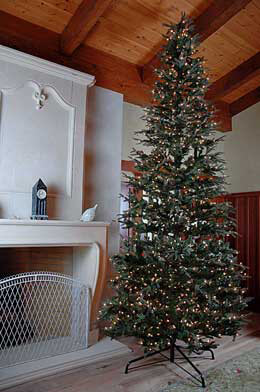 12' Pre-Lit Frasier Slim Pine Artificial Christmas Tree