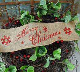 """Merry Christmas"" Holiday Burlap Ribbon 4"" x 5 yards"