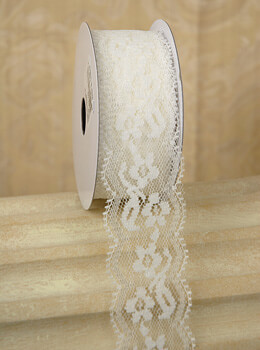 "Lace Ribbon 1.5"" x 10 yds Ivory"