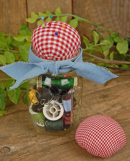 Jar Jewelry Pin Cushion Red Gingham (Set of 6)