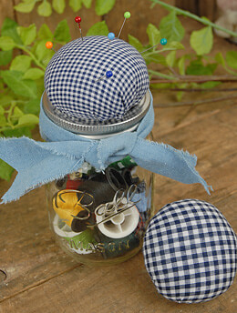 Jar Jewelry Pin Cushion Navy Gingham (Set of 6)