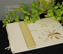 Molly West Lily Embroidered Handbound Guest Book Ivory & Amber
