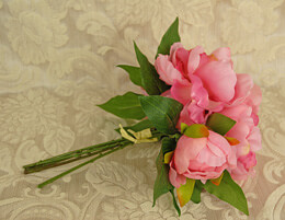 Peony Bouquet Artificial - Two-Tone Pink 11in