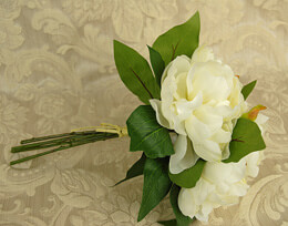 Peony Bouquet Artificial - White 11in