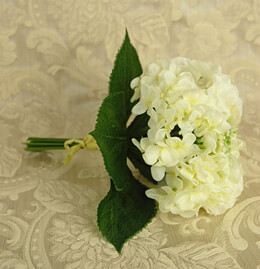 Hydrangea Bouquet Artificial - White 11in