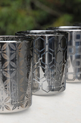 4 Silver Glass Votive Candle Holders