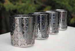 Patterned Candle Holders Silver  (Set of 4)